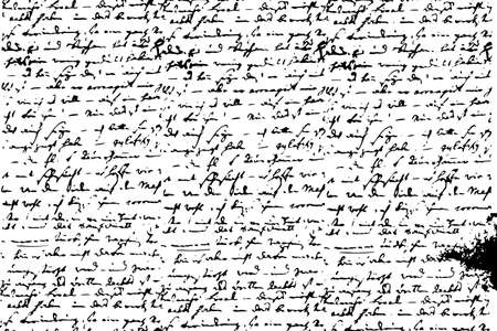 Isolated grunge texture of old notebook handwriting in black and white, vintage background resource.