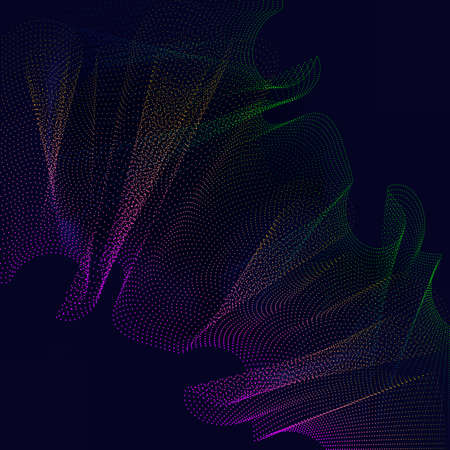 mesh texture: Abstract 3d wave grid made of colorful particles, distorted mesh texture background. EPS10 vector.