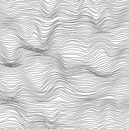 Abstract black and white background, wavy geometric lines in modern 3d mesh texture style. EPS10 vector.