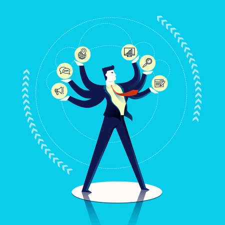 Business multitask concept illustration, executive man juggling different work skills as outline icons. Contemporary flat art design for smart project. EPS10 vector.