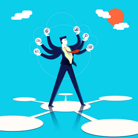 Business multitasking concept illustration, executive entrepreneur man juggling multiple work skills and ways to take. Modern flat art design for multiple purposes. EPS10 vector