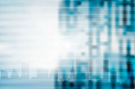 gradient: Blue city skyline illustration, abstract blur background ideal for modern digital business or technology design. EPS10 vector.