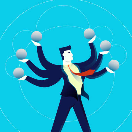 Business multitask concept illustration, acrobat office man juggling with copy space elements. Contemporary flat art design for professional project. EPS10 vector. Stok Fotoğraf - 75437264