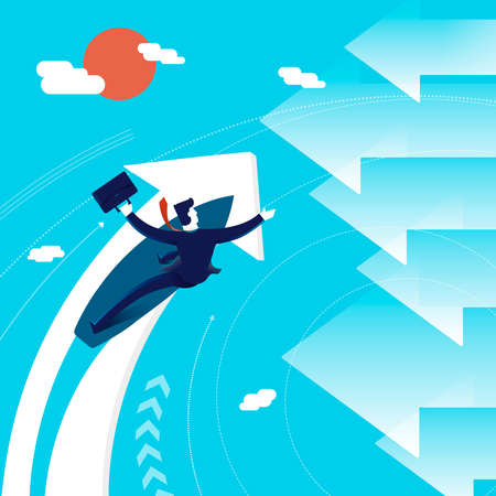 business direction: Business concept illustration: entrepreneur or executive man surfing in a new direction. Modern flat art design for professional project. EPS10 vector.