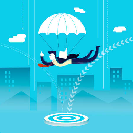 Business investment concept illustration, businessman inverstor with parachute landing on goal. Modern flat art design for professional project. EPS10 vector.