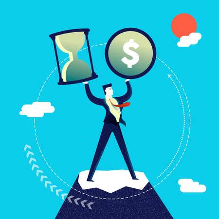 Business multitasking concept illustration, executive entrepreneur man juggling multiple work skills. Modern flat art design for professional project. EPS10 vector. Illustration