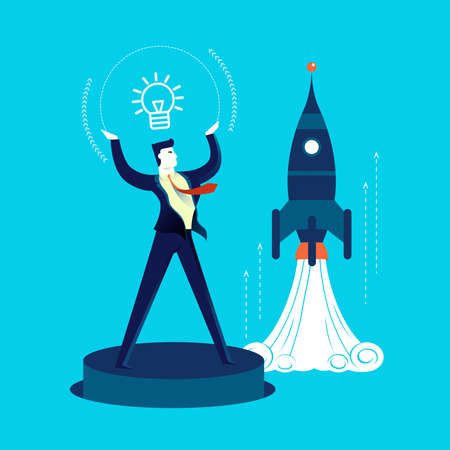Business start up concept illustration, businessman launching a new idea or project. Contemporary flat art design for new ideas presentation. EPS10 vector. Illustration