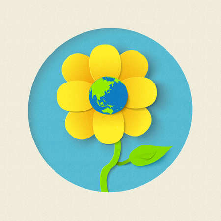 Earth day paper cut out style design flower with planet inside. World environment care concept illustration. EPS10 vector.