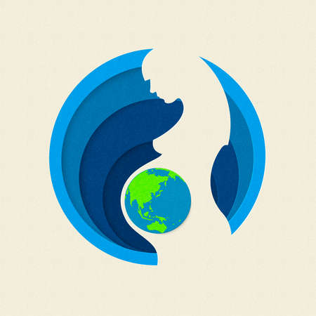 Earth day paper cut out illustration of pregnant woman silhouette with planet. Mother nature care concept. EPS10 vector.