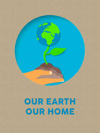 cut paper: Earth day illustration for world environment care. Paper cut style plant growing from human hand with typography quote. EPS10 vector.