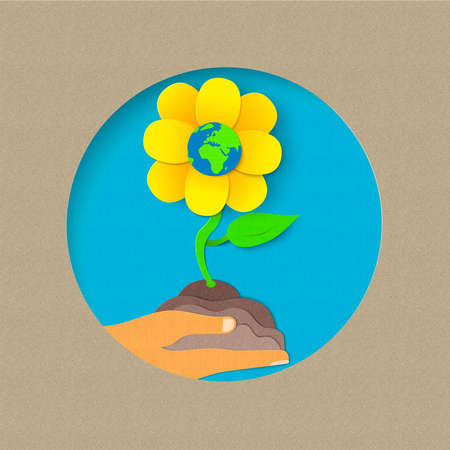 earth day: Earth day illustration for world environment care. Paper cut style flower growing from human hand. EPS10 vector.