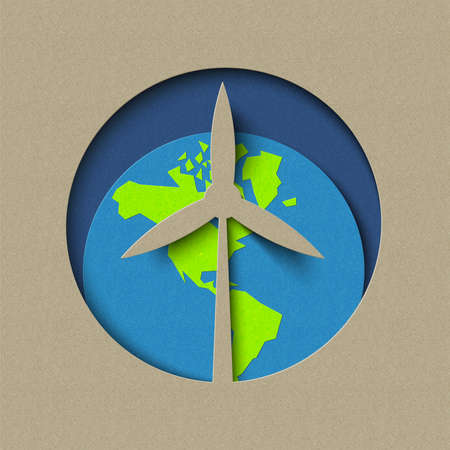 Earth day paper cut concept for green wind mill energy and conservation. World environment care illustration. EPS10 vector. Ilustrace