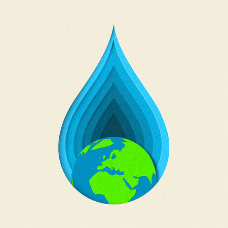 Earth day paper cut concept illustration for drinking water care and environment conservation. EPS10 vector.