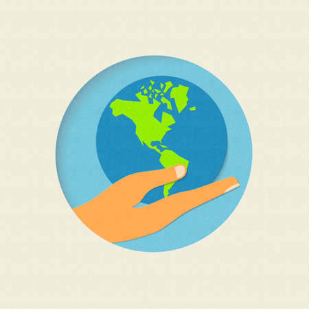 hand holding paper: Earth day concept illustration for world environment care. Paper cut human hand holding planet. EPS10 vector. Illustration