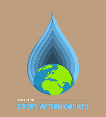 Earth day paper cut concept illustration for water and environment care with powerful quote. EPS10 vector.