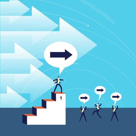 Business leadership concept illustration, leader helping businessmen team in direction to success. Illustration