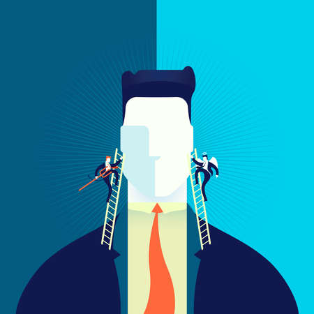 Businessman making hard decision with angel and demon in head, business concept illustration.