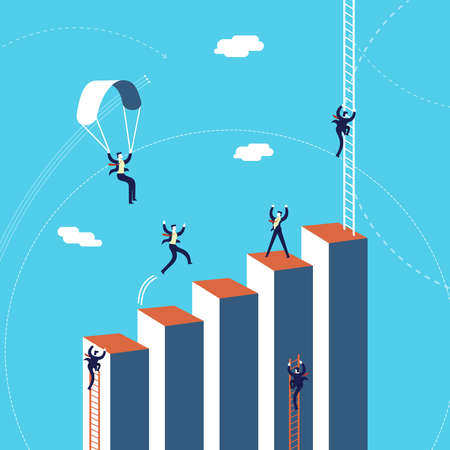 Business success concept illustration, businessmen team climbing growth graph.