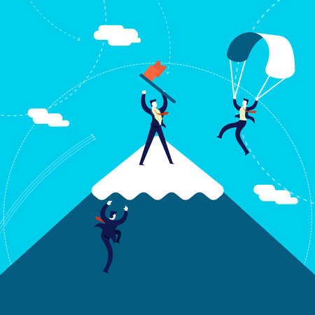 Business success concept illustration, team of businessmen climbing mountain top to reach goal. Illustration