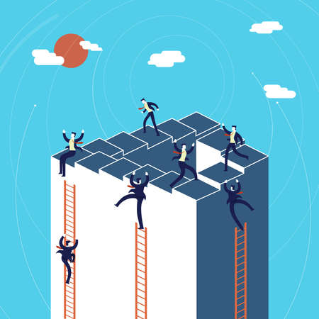 Business growth concept illustration, businessmen team climbing to success.