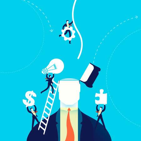 business mind: Change of mind concept business illustration, businessmen team helping with new creative ideas. Illustration