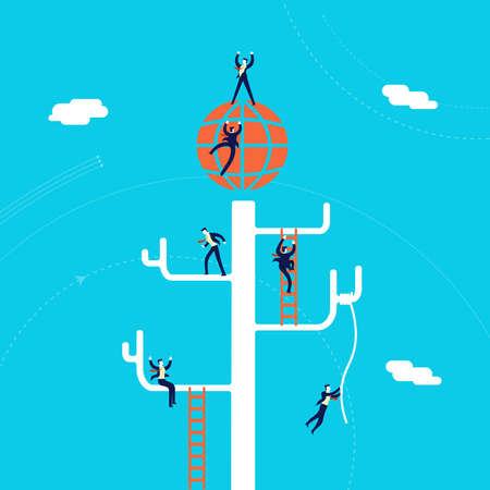 Global business concept illustration, businessmen team climbing tree network to international success. Illustration