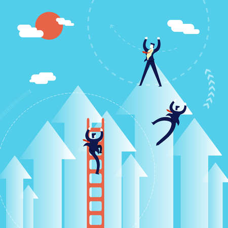 business direction: Business growth concept illustration, businessmen team climbing positive direction to success.