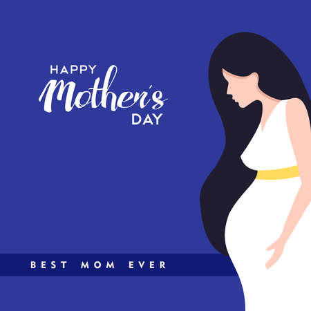 Happy mothers day illustration, pregnant woman with mom love quotes. EPS10 vector.