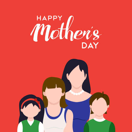 family holiday: Happy mothers day family illustration, mom with kids and holiday love quote. EPS10 vector.