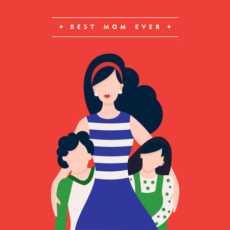 love mom: Happy mothers day family illustration, mom with kids and holiday love quote. EPS10 vector.