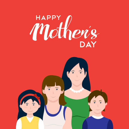 Happy mothers day card illustration. Mom with children celebrating holiday. EPS10 vector.