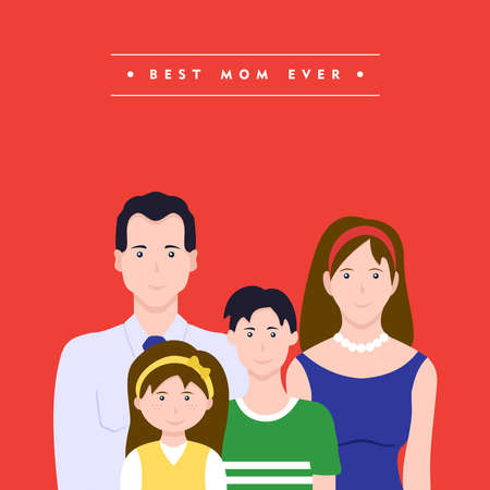 Happy mothers day card illustration. Mom with family celebrating holiday together. EPS10 vector. Illustration