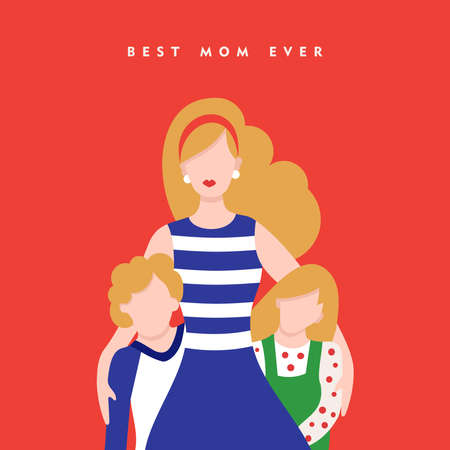 Happy mothers day card illustration, mom and kids with love typography quote. EPS10 vector. Illustration