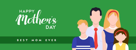 Happy mothers day illustration for social media header. Family celebrating mom holiday with typography quote. EPS10 vector.