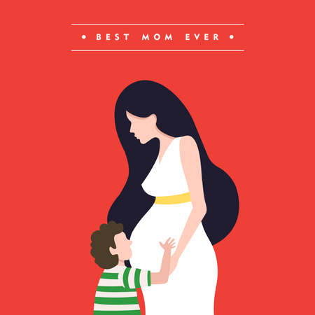 Happy mothers day illustration, pregnant woman with child and mom love quote. EPS10 vector.