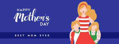 Happy mothers day illustration, mom with kids and holiday text quote for social media header. EPS10 vector.