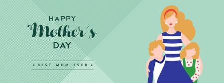 Ilustración del día de madres para la cabecera de los medios sociales, mamá con los niños y la cita de la tipografía feliz. EPS10 vector. Foto de archivo - 77073133