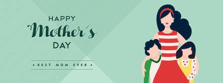 Gelukkige moedersdag familie illustratie voor sociale media koptekst, moeder met kinderen en vakantie liefde citaat. EPS10 vector. Stock Illustratie