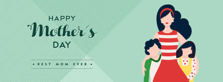 Happy mothers day family illustration for social media header, mom with kids and holiday love quote. EPS10 vector. Çizim