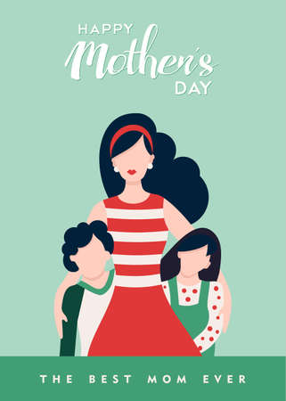 Happy mothers day card illustration, mom and kids with loving typography quote. EPS10 vector.