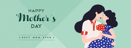 Happy mothers day illustration for social media header. Mom and daughter celebrating holiday together with love quote. EPS10 vector.