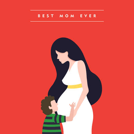 pregnant mom: Happy mothers day illustration, pregnant woman with son and mom love quote. EPS10 vector. Illustration