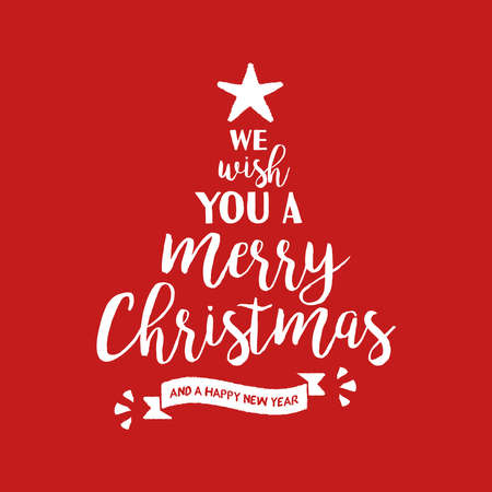Merry Christmas pine tree calligraphic quote design, handwritten lettering illustration for holiday season greeting card. EPS10 vector.