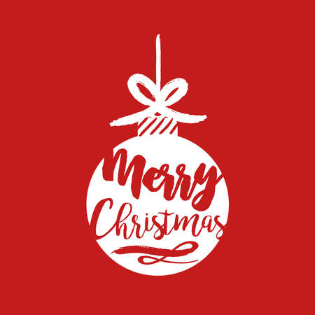 Merry Christmas calligraphy quote, lettering text design for holiday season. Creative red typography font illustration. EPS10 vector. Illustration