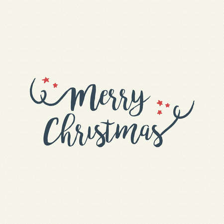 Merry Christmas calligraphic quote design, vintage handwritten lettering illustration for holiday season greeting card. EPS10 vector.
