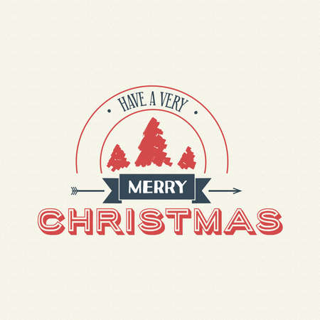 Merry Christmas pine tree calligraphic quote design, vintage lettering illustration for holiday season greeting card. EPS10 vector.