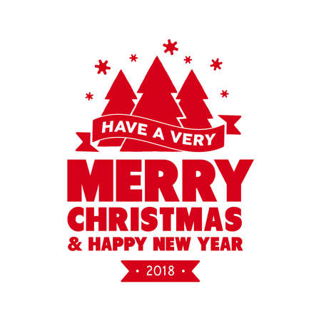 christmas decor: Merry Christmas pine tree calligraphic quote design, handwritten lettering illustration for holiday season greeting card. EPS10 vector.