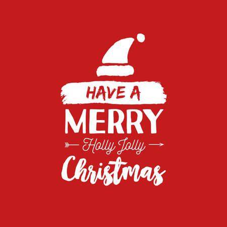 Merry Christmas santa hat text quote, calligraphy lettering design for holiday season. Creative red typography font illustration. EPS10 vector.