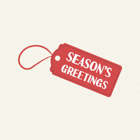 Merry Christmas season greetings quote on holiday sale label. Vintage typography text illustration design. EPS10 vector.