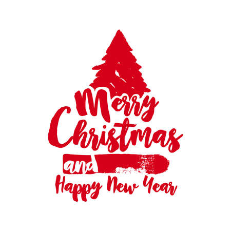 grunge tree: Merry Christmas grunge tree text quote, calligraphy lettering design for holiday season. Creative red typography brush font illustration. EPS10 vector. Illustration